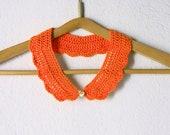 Crochet Peter Pan Collar, the Thetis Collar, in orange color, detachable fashion