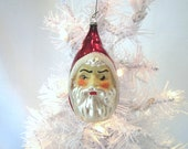 Father Christmas Santa Head Vintage Figural Glass Ornament