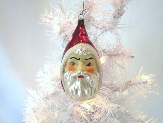 Father Christmas Santa Head Vintage Figural Glass Ornament
