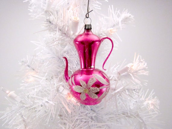 Vintage Figural Glass Coffee Pot Christmas Holiday Tree Ornament - Pink