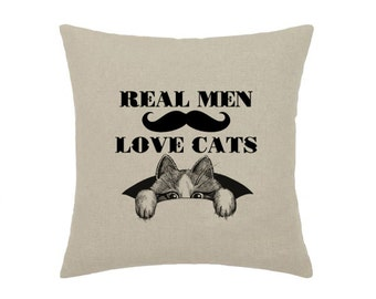 Real Men Love Cats Hipster Mustache Moustache Geek Cat Kitty - print on natural 100% linen canvas - 16x16 decorative pillow cover