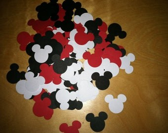 Mickey confetti-hand puched embellishment-party decor/200 count/red white and black