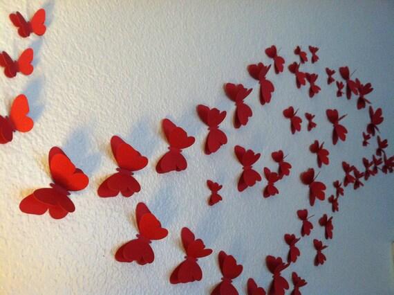 3d papillons mur silhouettes de papillon rouge papillons. Black Bedroom Furniture Sets. Home Design Ideas