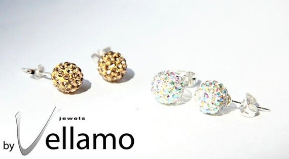 Pick color sterling silver stud earrings with Swarovski crystal balls, crystal AB, aurora borealis or gold, dark gold