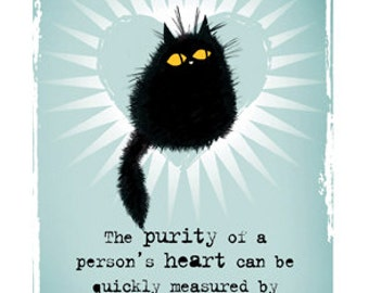 Cat card Purity Of Heart black cat greetings card