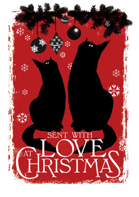 items similar to cat christmas card with love at christmas