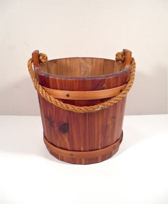 Primitive Wood Bucket - Firkin Well Bucket Rope Handle