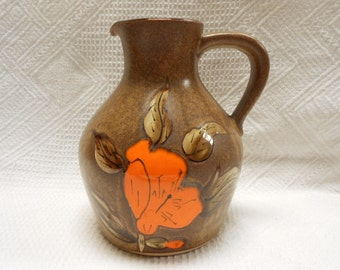 French Vintage Jeanne Handpainted Floral Stoneware Pitcher (A491)