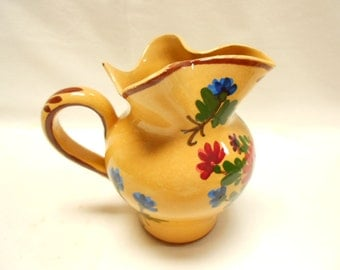 Vintage French Handpainted Floral Faience Creamer / Pitcher (A618)