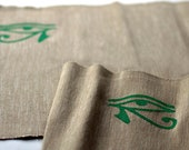 Beige Place Mat with Green Eye of  Horus Embroidery