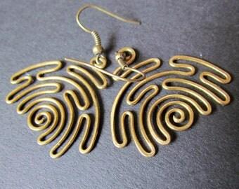 Sunrise Earrings, Wire Wrapped Brass