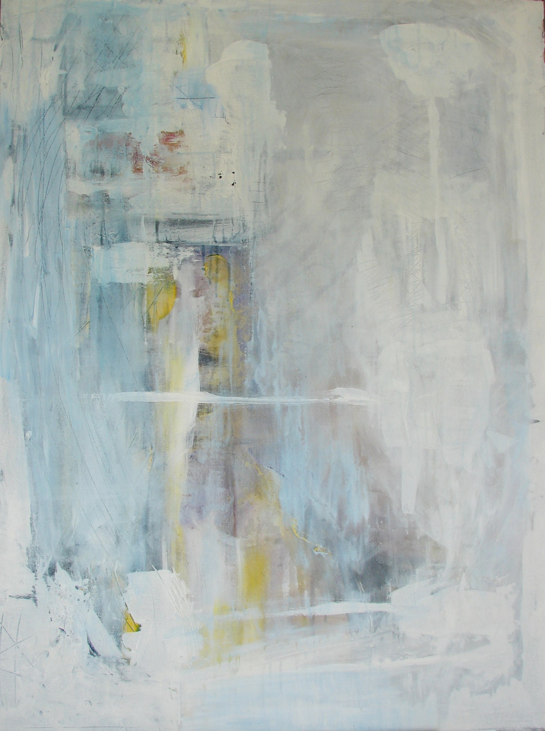 Large abstract painting blue and white original fine art 36 x for White canvas painting