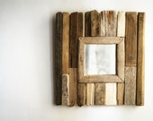 Driftwood Mirror, Handmade Mirror, Upcycled Mirror, Cottage Style Mirror, Accent Mirror, Small Mirror