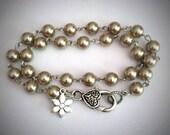Silver Pearl Bracelet. Double Wrap Pearl Bracelet.  Double Wrap Stacking Bracelet. Summer Fashion,