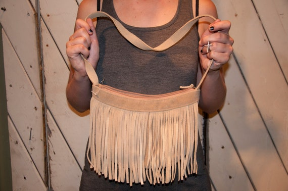 The Huntress- Suede Beige Leather Fringe Purse