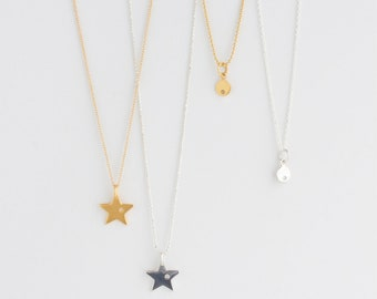 Gold Star Diamond Charm Necklace Simple Modern Everyday Jewelry