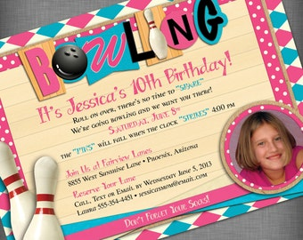 Pink and Aqua Photo Bowling Party Customized Printable Invitation