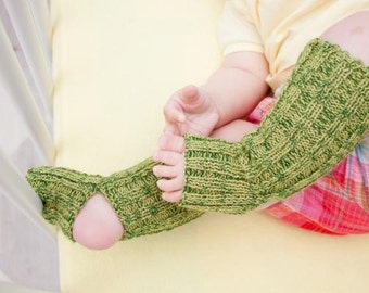 baby yoga socks - Green, long, knitted comfortable warm colorful summer leg warmers accessories kids baby yoga gift legwear
