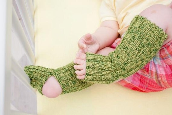 baby yoga socks - Green, long, knitted comfortable warm colorful summer leg warmers accessories kids europeanstreetteam legwear