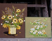 Vintage Pair of Floral Needlepoints -- Needlepoint Flower Pictures - Green and Yellow Needlepoint Wall Hangings