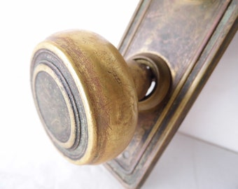 Vintage Brass Door Knob and Brass Plate with Lock, Home Decor, DIY, Industrial, Altered Art