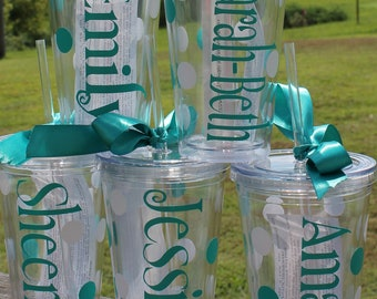 7  Bridal Party Bridesmaid and Bride Personalized Double Walled Insulated Tumblers with straw