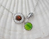Beetle & Leaves Necklace Nature-Inspired jewelry floral pendant, gift for her
