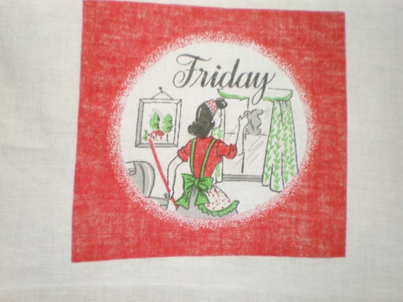 "Vintage Day of the Week Kitchen Towel - 1950's ""Friday"" kitchen towel"