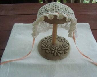 crocheted baby bonnet