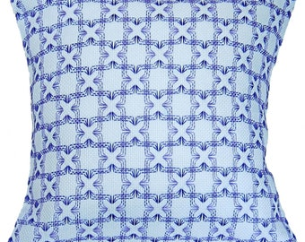 "Handwoven Swedish Weave Pillow ""Little Boxes"" Purple"