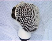 1800's Civil War Victorian Beige Snood with Pearls Hair Net Handmade 100% cotton