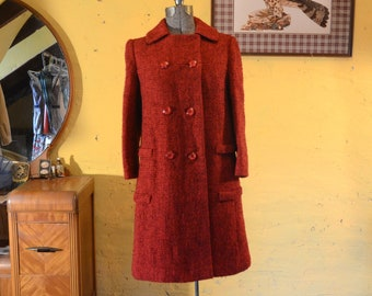 Rich Cranberry Red Heavy Wool 1960s Perfect Winter Coat