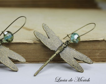 Dragonfly Dangle Earrings -Natural History dangle earrings - For her - Mother's day gift -Coupon code