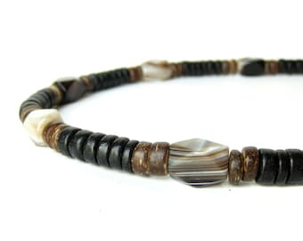 "Mens Jewelry - Wood necklace for men made with striped agate beads. ""Agate & Wood Necklace"""