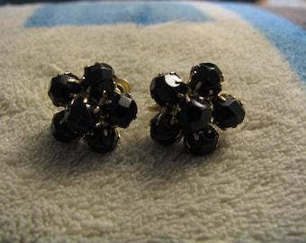Vintage stone screw back floral earrings