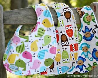 Minky or Chenille Baby bib set - PICK 3 - baby shower gift