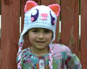 White Monster Hat, Crochet Baby Hat, Animal Hat, photo prop, Inspired by Moshi Monsters  - Baby, Toddler, Child