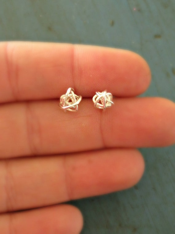 SALE Sterling Silver Love Knot Earrings Bridesmaid Jewelry Tiny Stud Earrings Tie the Knot gifts stocking stuffers