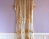 1920's Tea Stained Wedding Dress Formal/ Lace Netting