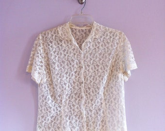1960's Fitted Off-White Lace Blouse