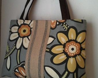 Handbag Tote with Grey Floral and Jute Webbing