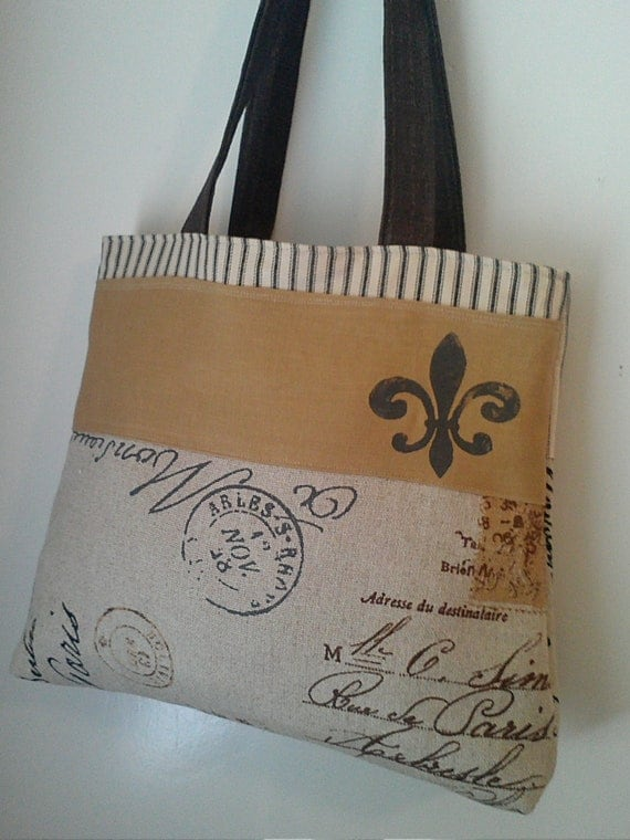 Handbag Tote in French Postage with Fluer De Lis