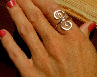 Hand Hammered Swirls on an Adjustable Ring   Available in Sterling Silver, Silver Filled or Copper