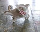 Porcelain Wagon, Red Rose, Vase, Candleholder Vintage