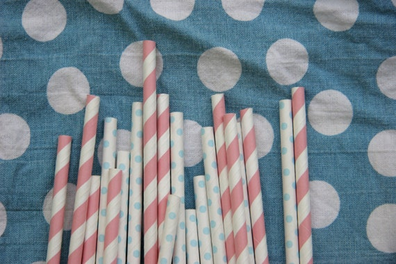 Gender Reveal Paper Straws, Pack of 75, in Light Pink and Baby Blue Dots