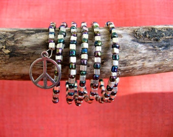 Beaded Wrap Bracelet - Silver and Purple Iridescent  Glass Beads and Peace Sign Charm on Stainless Memory Wire