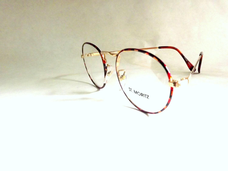 tortoise shell eyeglasses in gold metal frames vintage