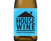 House Wine ... Printable House Warming Wine Label Wrap with To/From Note Section in Blue - Instant Download
