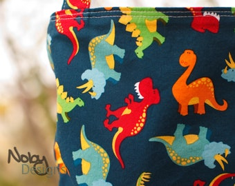 "Personalized Boy's Tote  - ""Dino"", Large custom tote bag, Reversible book bag, Dinosaur bag"