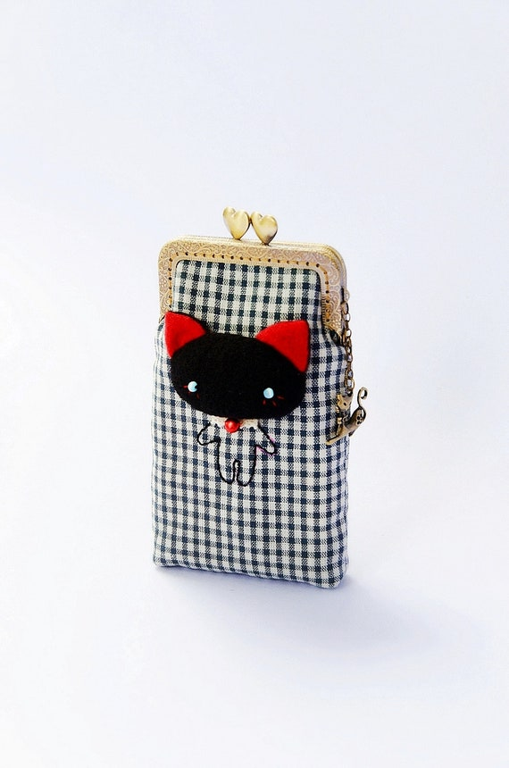 iPhone case, Cell phone case, Cat cell phone case, Cell phone holder, Glasses case, Metal frame, Fabric phone case- Made to order